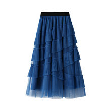 Womens Sweet Cake Layered Mid Long Mesh Skirts Princess Elastic High Waist Ruffled Vintage Tiered Tulle Pleated Wine Red Skirts