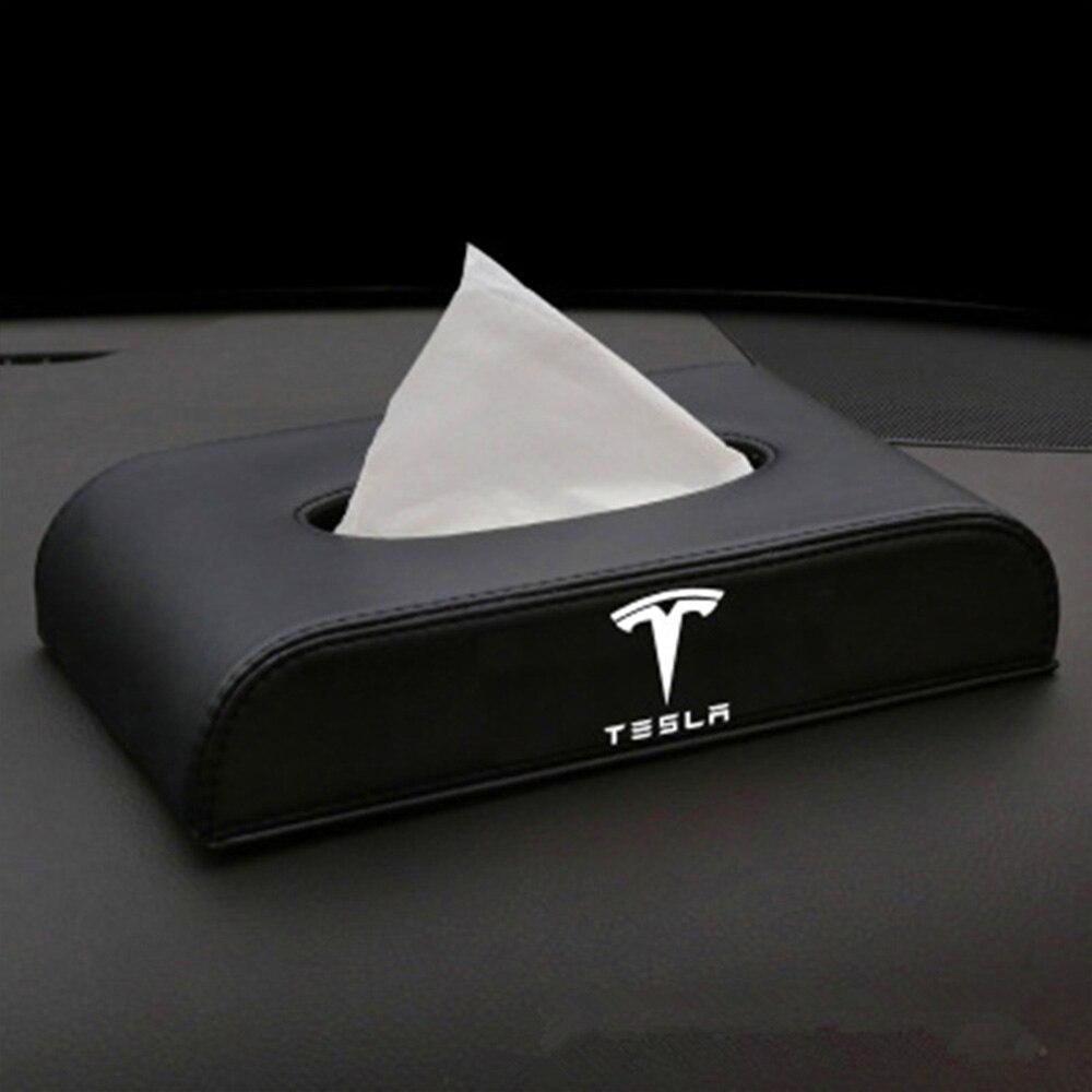 Car Tissue Box For Tesla Model 3 Model S Model X Car Armrest Box Type Tissue Box Car Styling