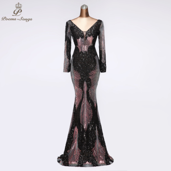 Sexy Sequin Evening dresses long sleeve formal dress party robe de soiree vestidos fiesta noche 2020 prom - discount item  55% OFF Special Occasion Dresses