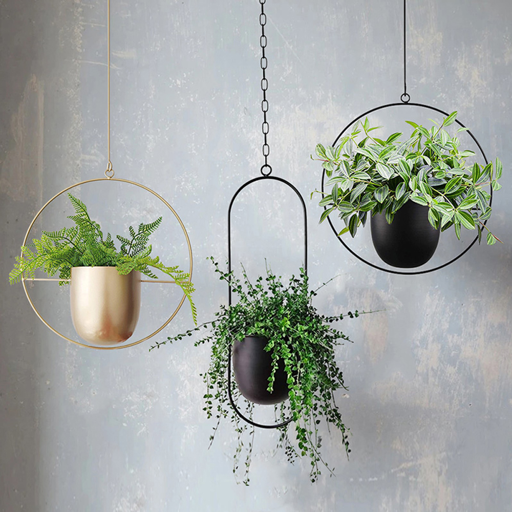 Metal Hanging Flower Pot Plant Hanger Chain Hanging Planter Basket Flower Vase Plant Holder Home Garden Balcony Decoration