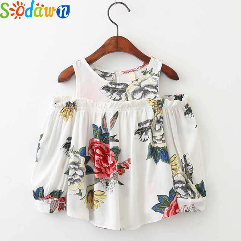 Sodawn Autumn New Children Clothing Girl Clothes Flowers Printed Ears Strapless Girl Shirt Fashion Long-Sleeved Shirt