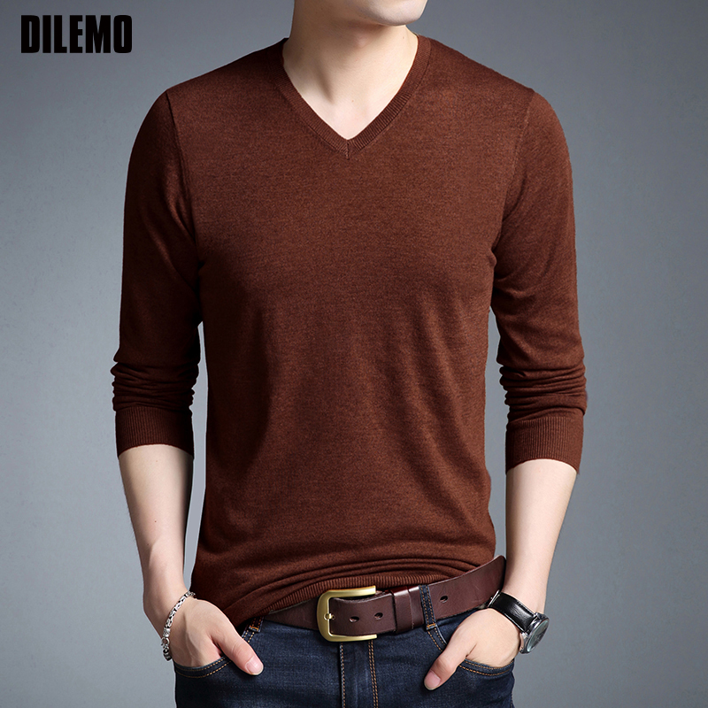 2019 New Fashion Brand Sweaters Men's Pullovers V Neck Woolen Slim Fit Jumpers Knitwear Winter Korean Style Casual Mens Clothes