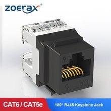 ZoeRax 10PCS Cat5e Cat6 RJ45 Keystone ג ק מודול רשת מחבר מצמד Ethernet קיר שקע 180 ° תואר אגרוף למטה כלי