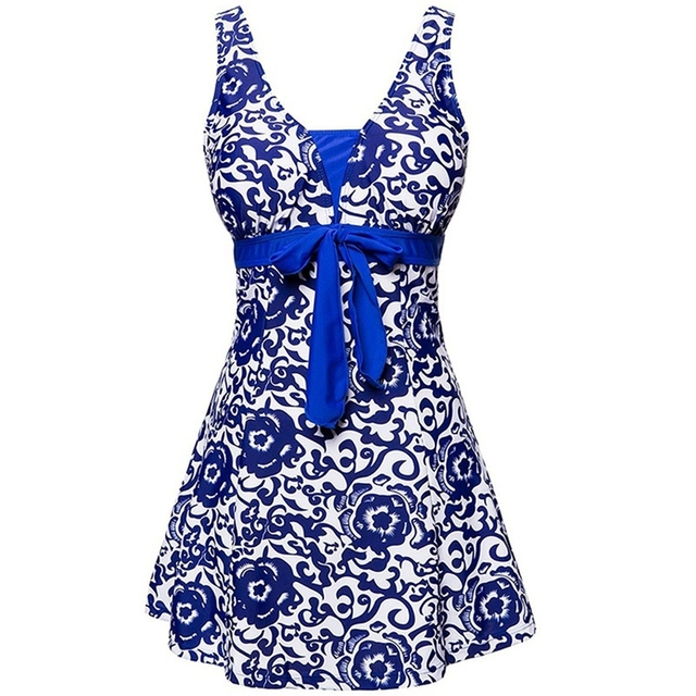 2019 New Vintage Print Large Size One piece Swimdress Women Swimwear Dress Big Plus size Bathing suit Skirt Female Swimsuit Wear 3
