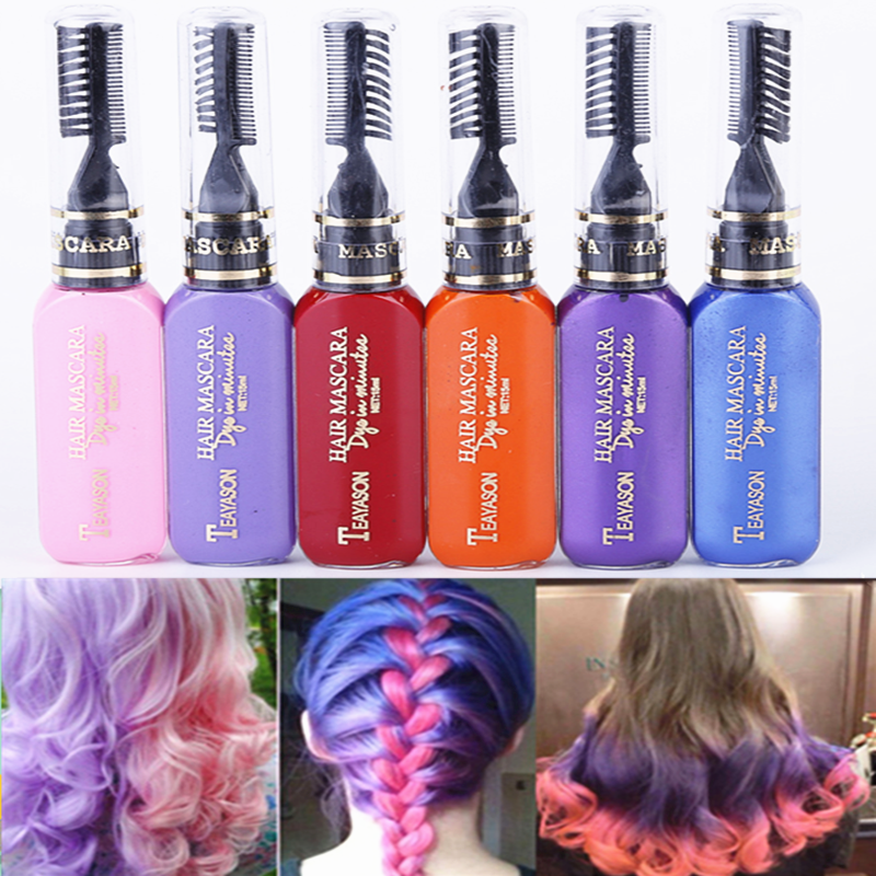 13 Colors One-time Hair Dye Crayons One-off Hair Color Dye Temporary Non-toxic DIY Hair Color Mascara Washable