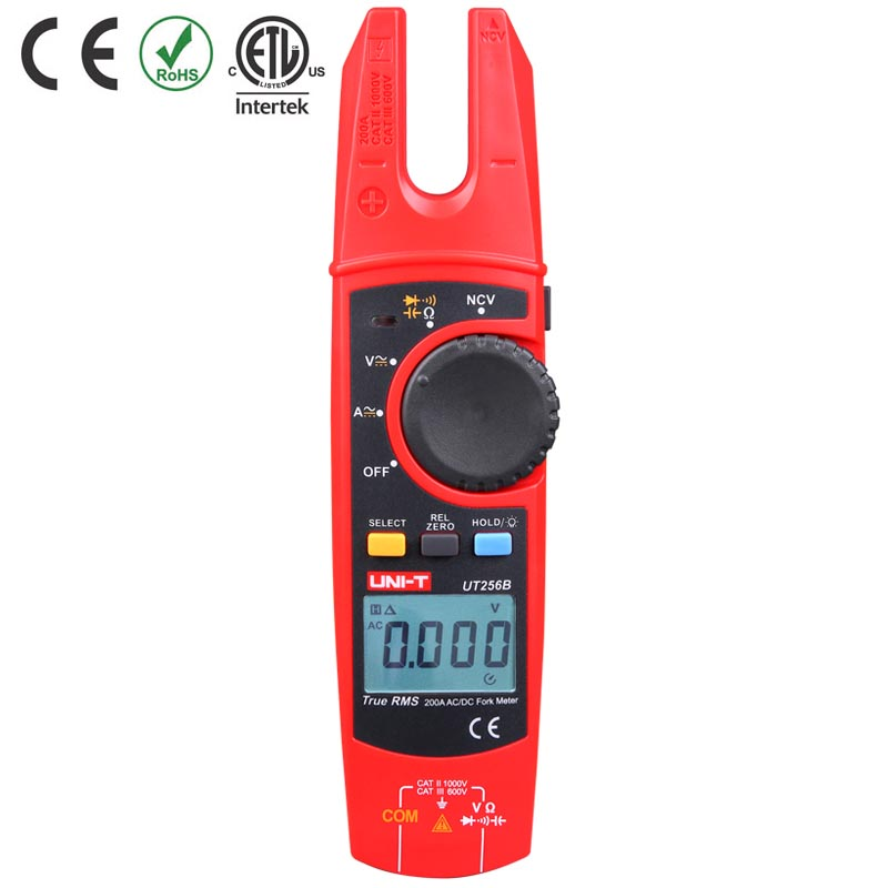 200A RMS T Large Clamp Uni Resistance Current  Fork Current True Ammeter NCV LCD Meter Ut256b DC Test AC Capacitance Digital
