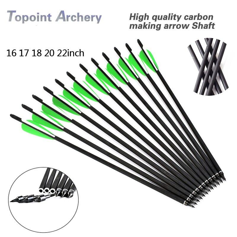 12 pçs 16/17/18/20/22-polegadas de caça besta parafuso mix setas carbono od 8.8mm com verde/branco pena arcos para caça tiro com arco
