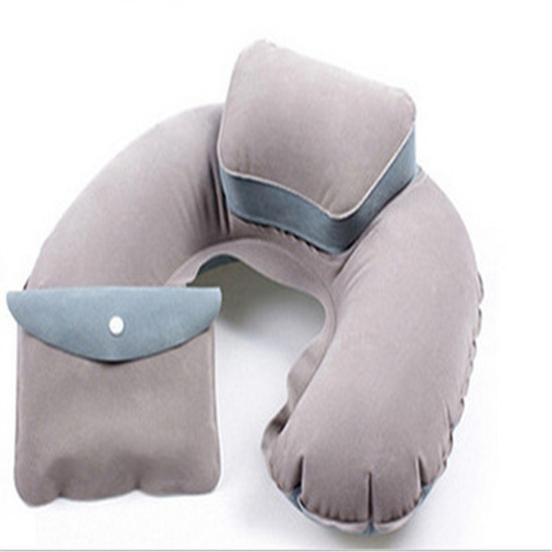 New Portable U Shape Air Inflatable Travel Pillow Support Flocking PVC Neck Pillow for Airplane Travel Office Home Sleep image