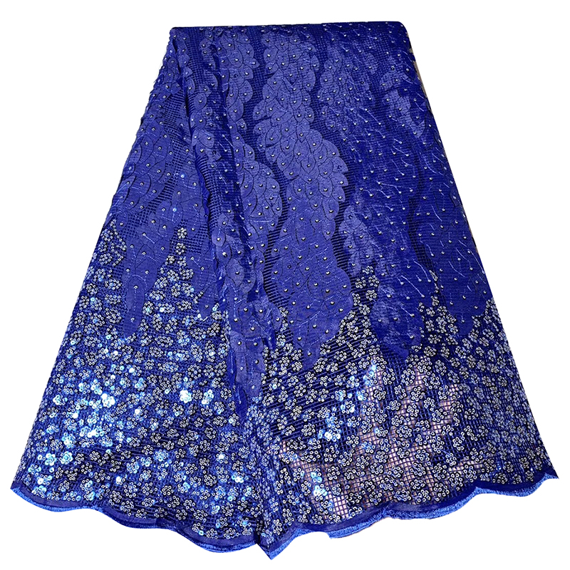 2020 High Quality Nigerian African Lace Fabric Blue Appliques Squins Diamond Tissu French Tulle Lace Fabric For Eevening Dress