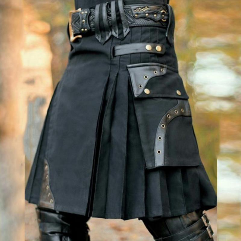 MONERFFI2020 New Scottish Mens Kilt Traditional Skirt Metal Classic Retro Traditional Personality Kilts Check Pattern Skirts