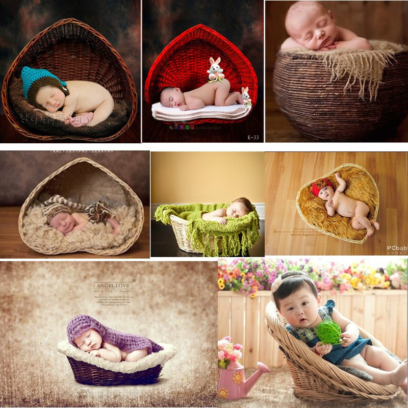 Newborn Fotografia Photo Props Rattan Basket Sofa Custom Hand-Woven Posing Frame Hundred Days Toddler Photography Props Accessories