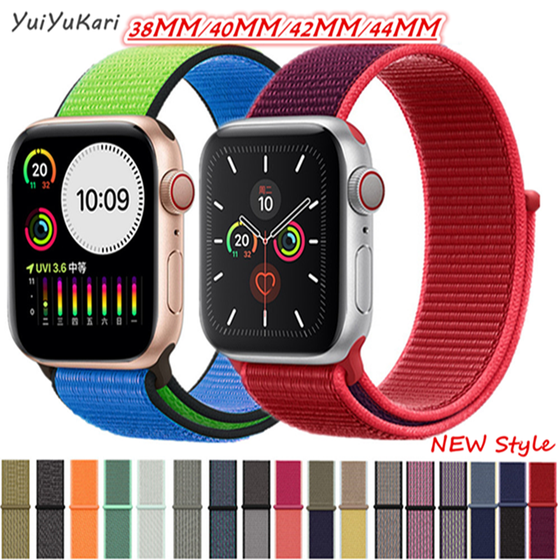 Suitable For Apple Watch Band 44mm/40mm Sport Loop Iwatch Band 5 42mm 38mm Correa Pulseira Apple Watch 5 3 4 Band Nylon Watchban
