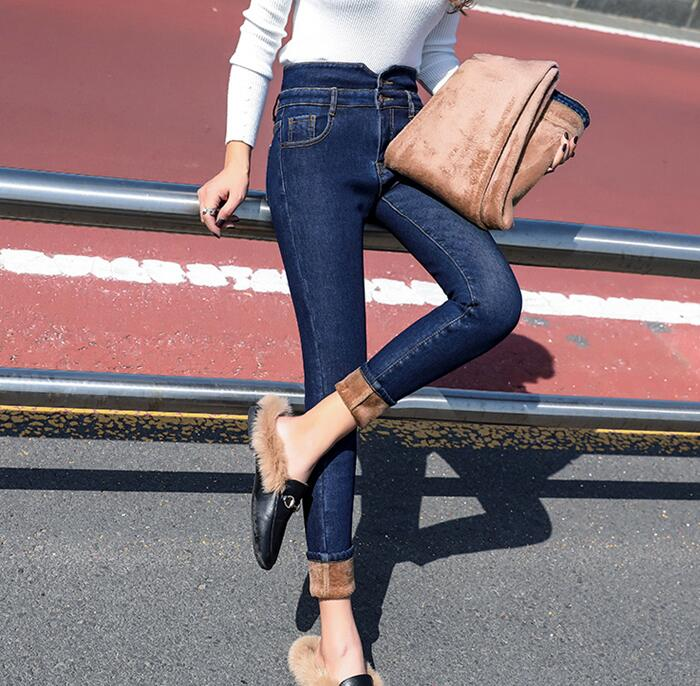 2019 New Thin Winter Women's Jeans Women's Pants Slim High Waist Pencil Pants A116A-01-07