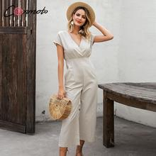 Conmoto summer 2020 sexy beach jumpsuit women solid wide leg feminino beach backless long rompers deep v ladies jumpsuits