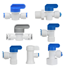 """RO Ball Valve 1/4"""" 3/8"""" OD Tubing Hose Quick Connection Pipe Control Fittings Plastic Water Purifier RO System Aquarium Fittings"""