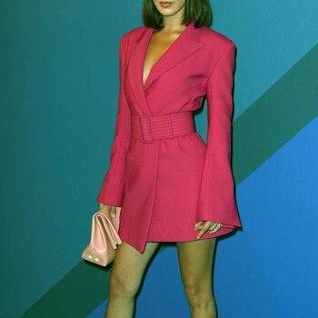CHICEVER Elegant Women's Dress Notched Long Sleeve High Waist With Sashes Irregular Mini Dresses Female Autumn Fashion 2020 New 4