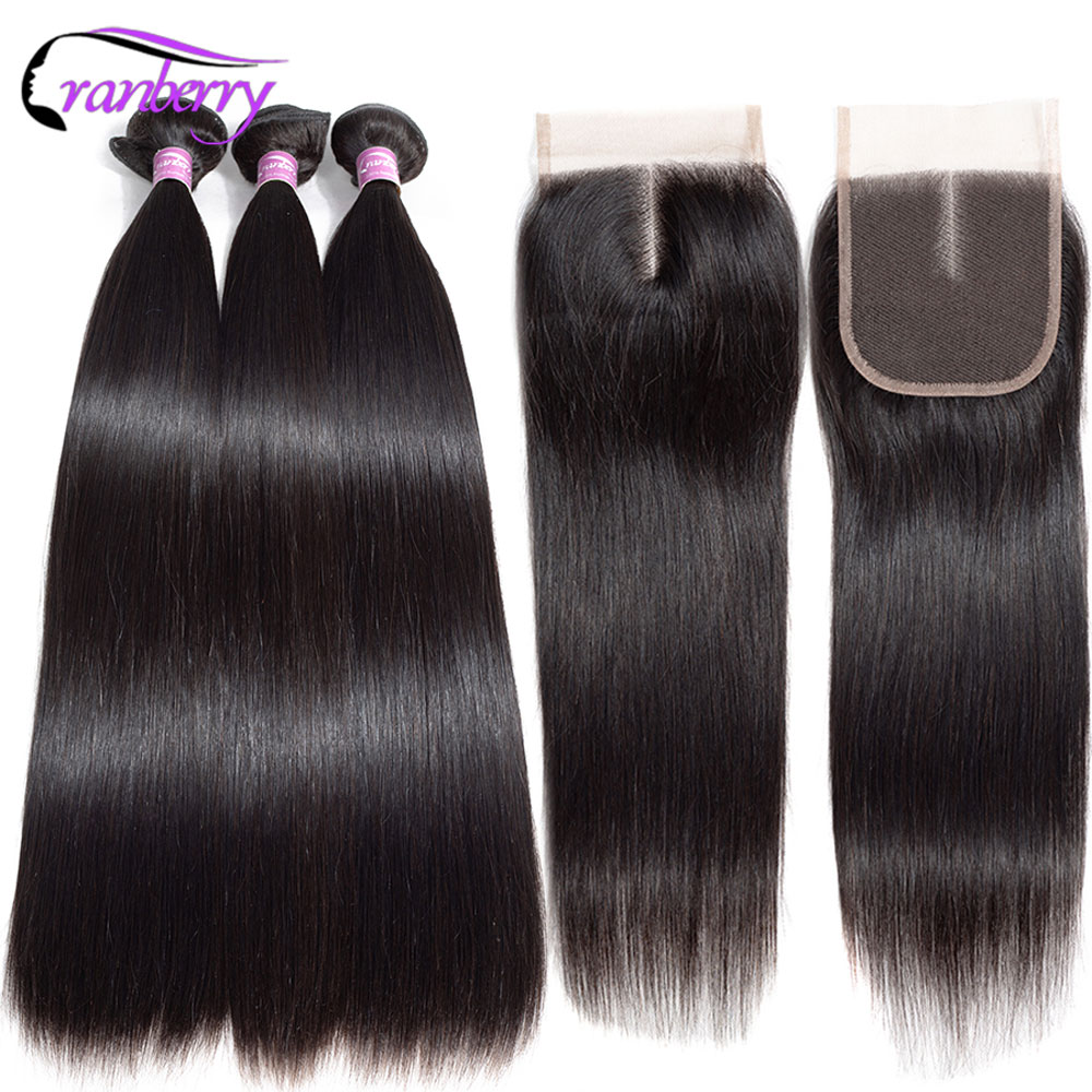 CRANBERRY Straight Hair Closure Human-Hair-Extensions 3-Bundles Brazilian with Remy title=