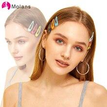Molans katı 50 adet/grup sevimli saç klipleri basit şeker renk sağlam alaşımlı tokalar kadınlar kızlar için şık Mini saç klipleri baş aşınma