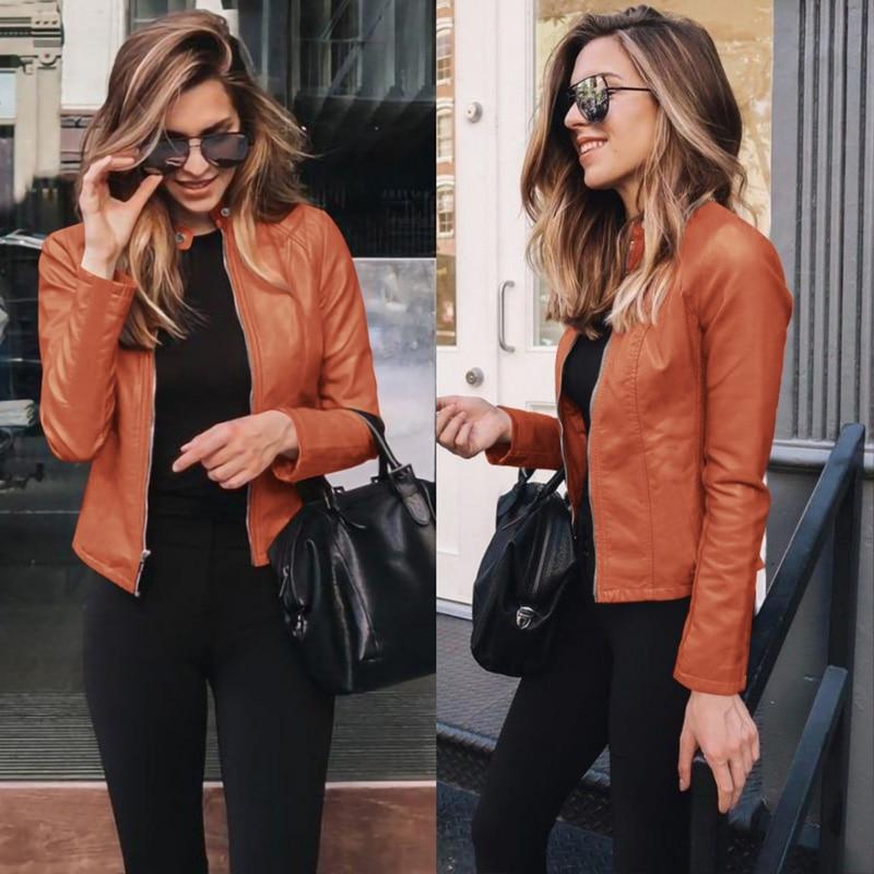 Women's Fashion Zipper Faux Leather Jacket Motorcycle Leather Outwear Autumn Winter Short Slim Coat Basic Streetwear Women