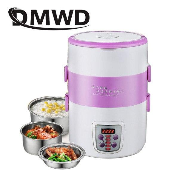Elettrico multifunzione Fornello di Riso intelligente Appuntamento 3 Strati mini di riscaldamento in acciaio inox cuoco contenitore scatola di pranzo A Vapore 220V