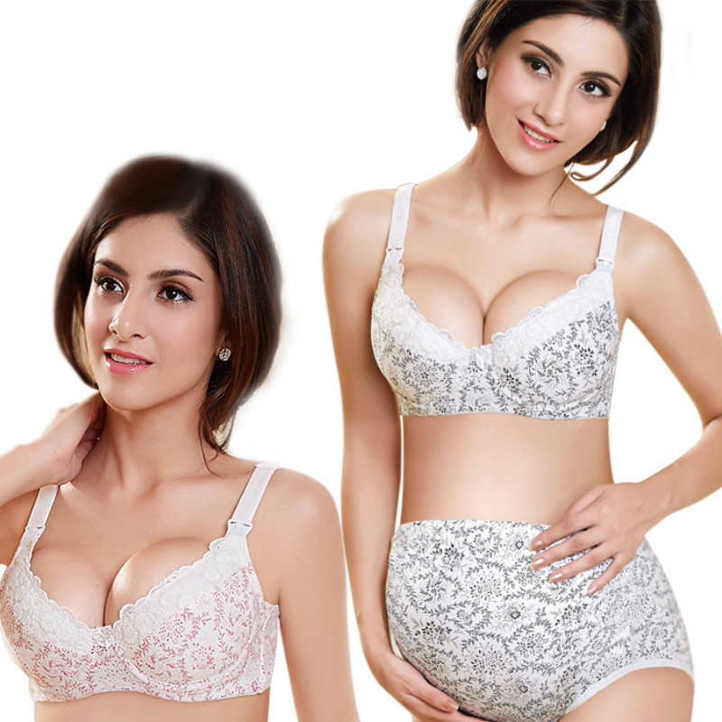 Maternity Nursing Bra Feeding for Pregnant Women Bamboo Fiber Flower Lace Underwear with Wire Anti Sagging Gravidas Maternity