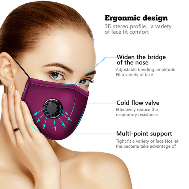 PM2.5 Cotton Black Mouth Mask With Valve Anti-Dust Mask Activated Carbon Filter Windproof Mouth-Muffle Bacteria Flu Face Masks 4