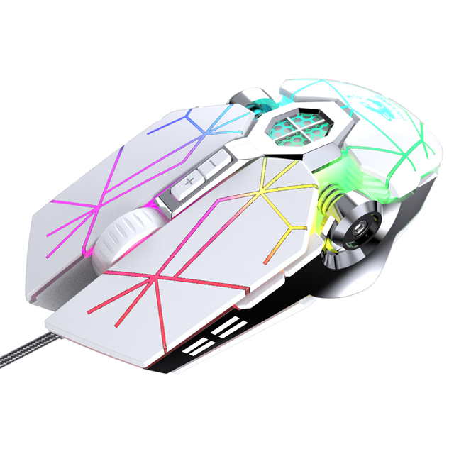 Wireless Mice Rechargeable Game Ergonomics Mouse Mute Liquid-cooled Shining Mechanical Mice 2400DPI With 7keys 2