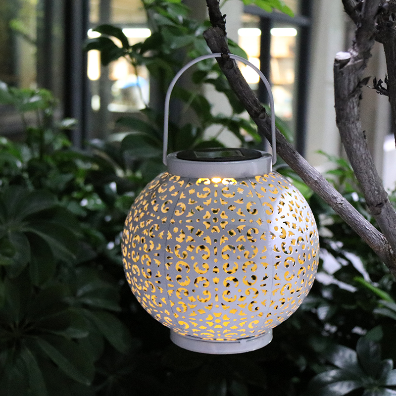 Solar Outdoor Lights, Hanging Garden Lantern for Patio, Yard. Metal Decorative Waterproof Table Lamp, Retro LED LightWhite Warm