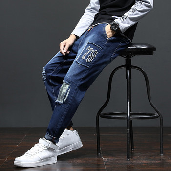 New Jeans for Men Ripped Slim Blue Black Man Printed Denim Pants Male Leisure Fashion Cool Patchwork Clothing man white american flags printed leisure jeans high elastic cultivate morality leisure pentagram red pants