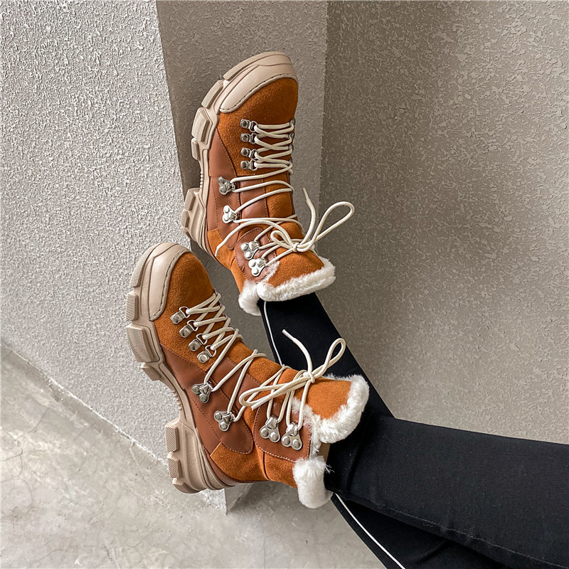 FEDONAS Cross Tied Women Quality Genuine Leather Ankle Boots Casual Office Shoes Woman Winter Vintage Warm Female Snow Boots 56