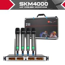 Xtuga SKM4000 4 Kênh Micro Không Dây Hệ Thống UHF Đảng Giai Đoạn Cầm Tay Bodypack Cổ Mic Tai Nghe Lavalier