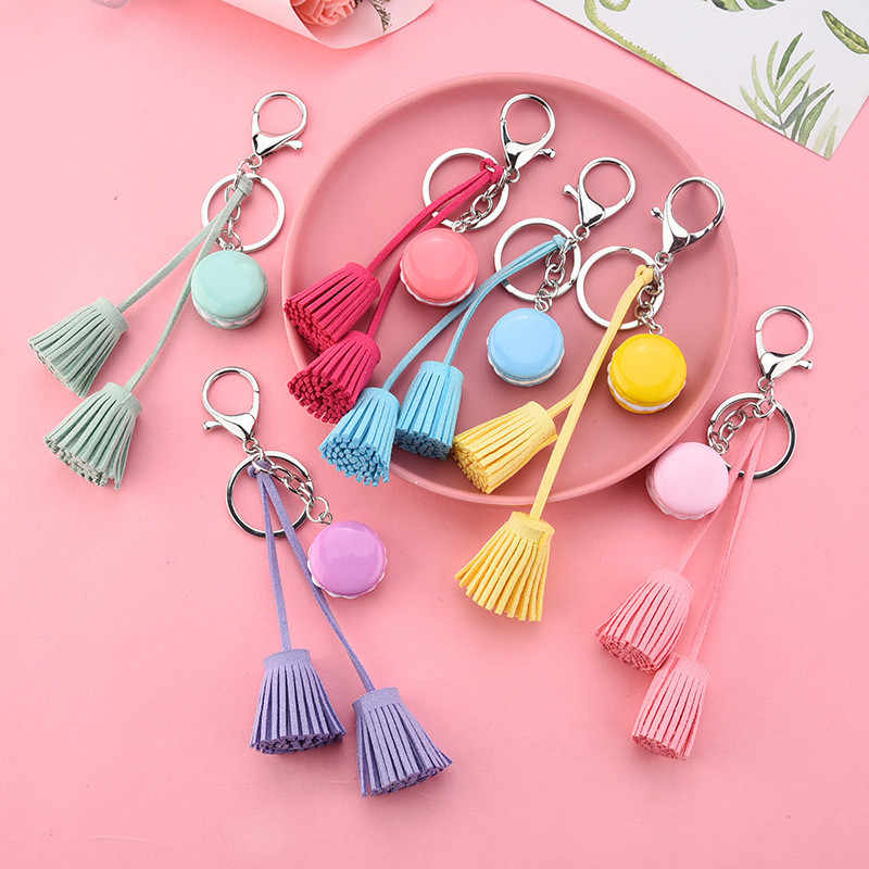Leuke Taart Lange Kwastje Sleutelhanger Auto Bag Opknoping Hanger Ornamenten Gift Voor Vrouwen Meisjes Mode Trinket Lederen Sleutelhanger Sieraden