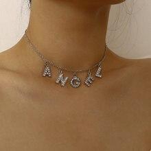 Europeu e americano moda jóias com temperamento zirconsímple selvagem inglês carta anjo pingente colar para o amante do sexo feminino