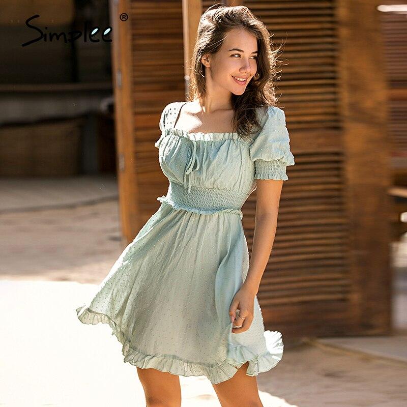 Simplee Solid Ruffled Women Dress Streetwear Petal Sleeve High Waist Mini Dress Chic Ladies Beach Wear Green Sash Holiday Dress
