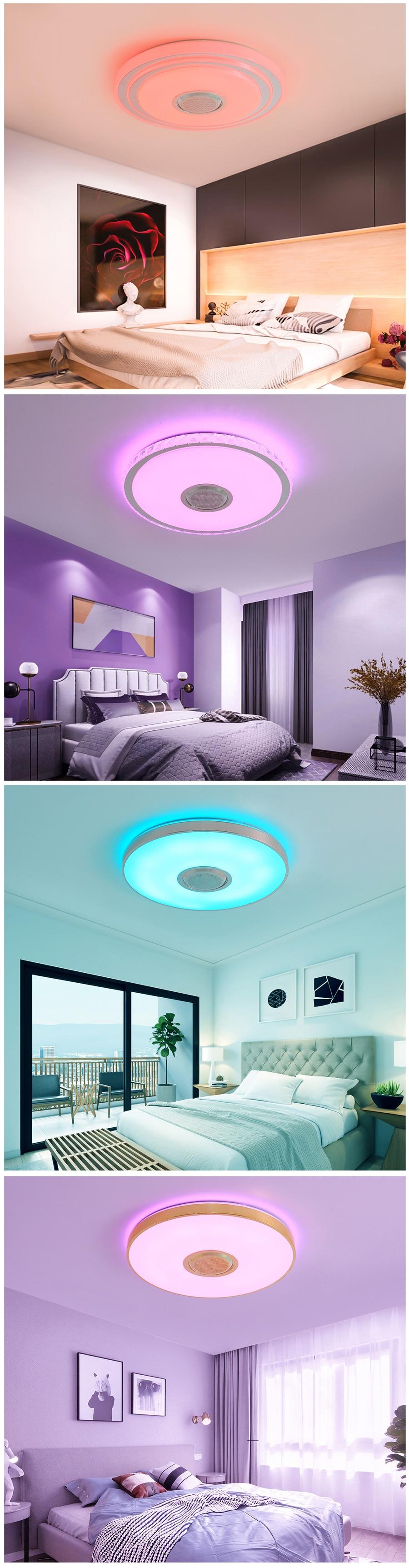 H2456e1cbee3642099a1161daca78ce185 Music LED ceiling Lights RGB APP and Remote control ceiling lamp bedroom 25W 36W 52W living room light lampara de techo
