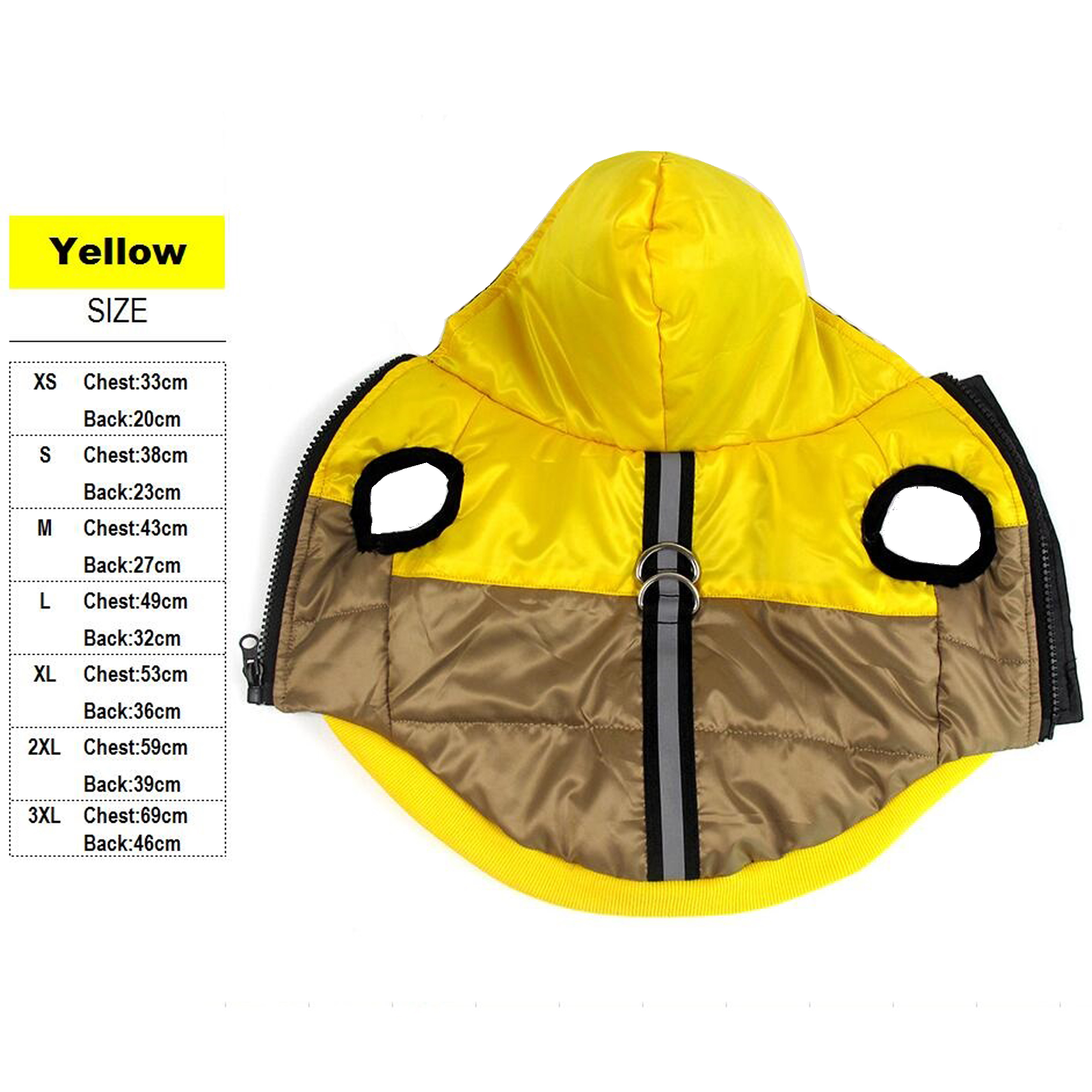 Купить с кэшбэком Winter Waterproof Dog Pet Coat Pug Bulldog Hood Outfit Leash D-ring Reflective Dog Jacket Cat Clothes Outdoor Apparel XS ~3XL