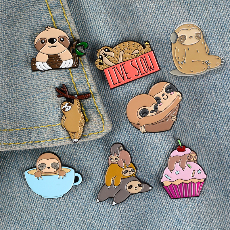 cartoon ice cream <font><b>Coffeecup</b></font> sloth metal brooch button pins denim jacket pin jewelry decoration badge for clothes lapel pins image