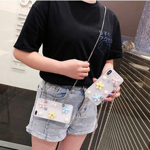 glitter daisy chain strap tpu case for iphone 7 8 6s 6 plus XR X XS MAX cover transparent 3d floral shoulder lanyard soft