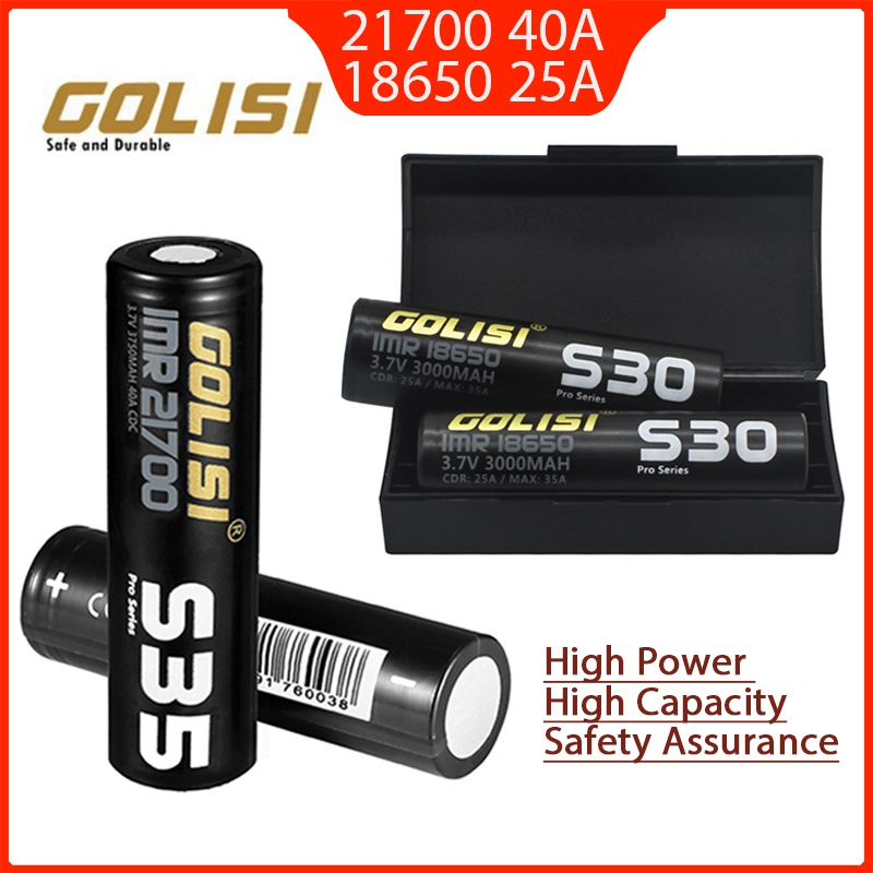 2 pcs Golisi S35 <font><b>IMR</b></font> 21700 3750mAh S30 <font><b>18650</b></font> 3000mAh 40A High Capacity Protected Flat Top Rechargeable Li-ion Battery image