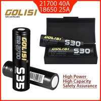 2 stücke Golisi S35 IMR 21700 3750mAh S30 18650 3000mAh 40A Hohe Kapazität Geschützt Flache Top Wiederaufladbare Li-Ion batterie