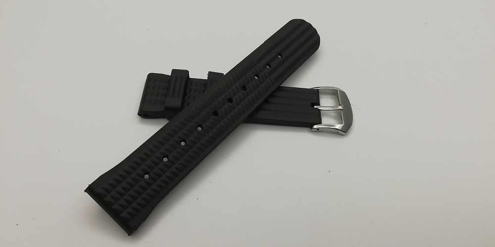 Proxima MM300 SBBN015 SOFT Rubber Waffle Watch Band for 22MM V3
