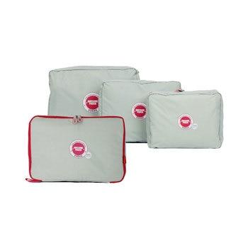 4 Pcs/Set Polyester Travel Packing Cubes Waterproof Organizers Compress Luggage Organizer Set Storage