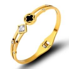 Luxury Famous Brand Crystals Bangles Stainless Steel White Shell Clover Bracelets & Bangles Bracelet for Women Bijoux Lover Gift цены онлайн