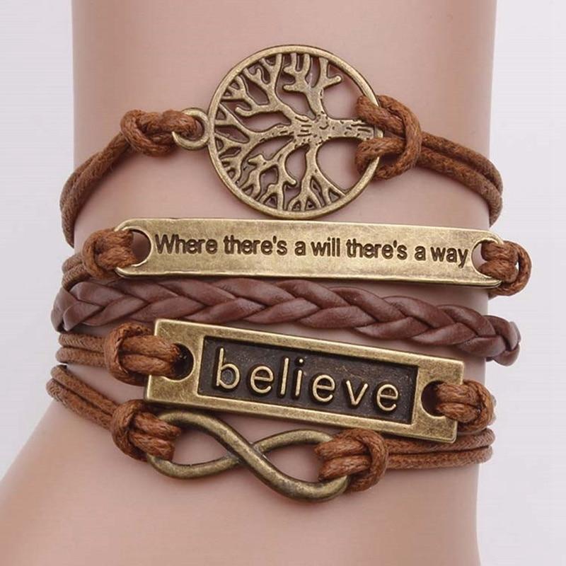 4 шт./компл. кожаный браслет с подвеской Древо жизни, браслет из коричневой веревки для женщин и мужчин, браслеты для йоги, ювелирные изделия, ...