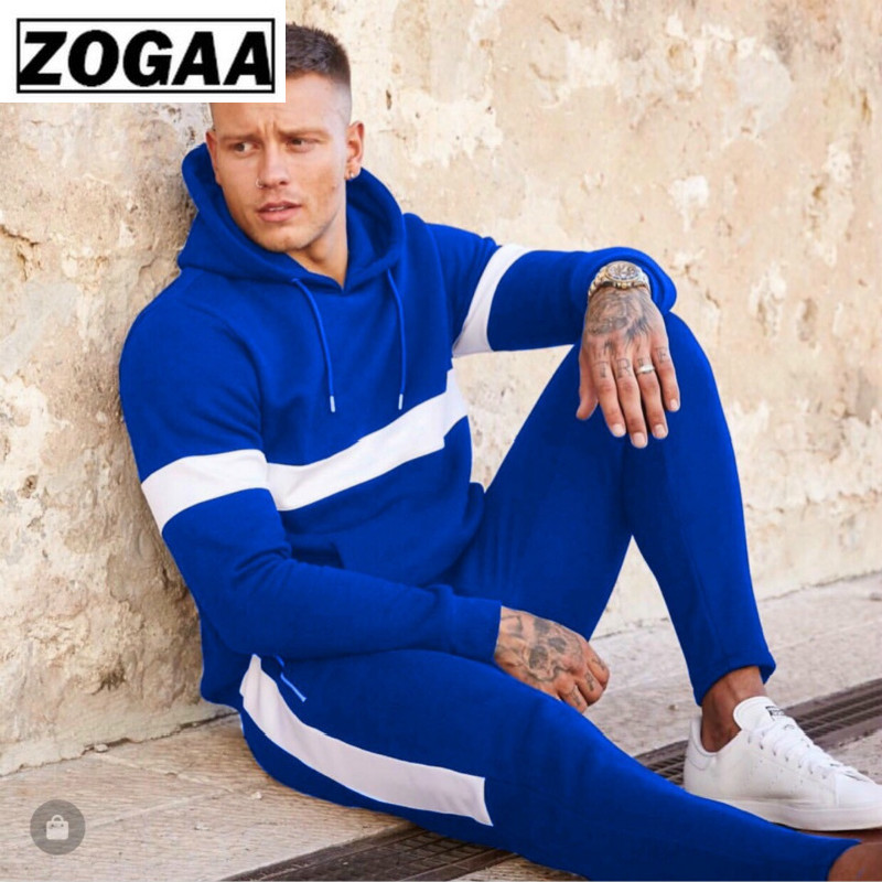 ZOGAA Hooded Stitching Color Sports Wear For Men Gym 100% Polyester Anti-shrink/fade Men Sports Suits Breathable Trainning Sets