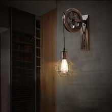 Wall Lamp Corridor Lifting Pulley Indoor Lighting Home Rustic Retro Metal Industrial Bar Restaurant Wall Sconce Light Fixture