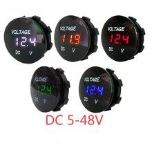 Круглый водонепроницаемый мини-вольтметр для мотоциклов, Светодиодная панель, цифровой измеритель напряжения, монитор, дисплей, вольтметр