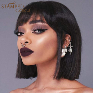 Stamped Glorious Straight Black Bob Wig With Bangs Synthetic Short Wigs for Women Heat Resistant Fiber Hair Cosplay Wig