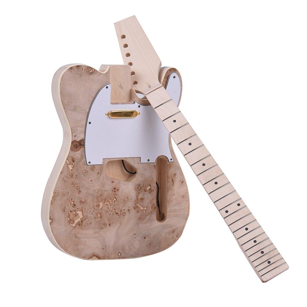 Ammoon TL Tele kit de bricolage de guitare électrique non fini corps de tilleul Surface de ronce touche de cou en bois d'érable avec micro-bobine simple - 4