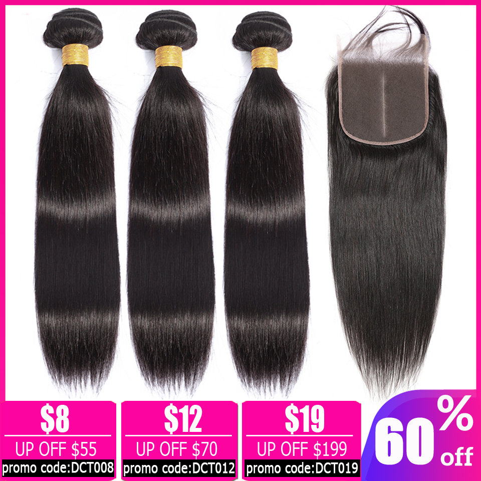 LEVITA Straight Hair Bundles With Closure Brazilian Hair Weave Bundles Human Hair Bundles With Closure Non-remy Hair Extension